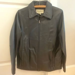 Eddie Bauer Black Leather Jacket Coat 😎